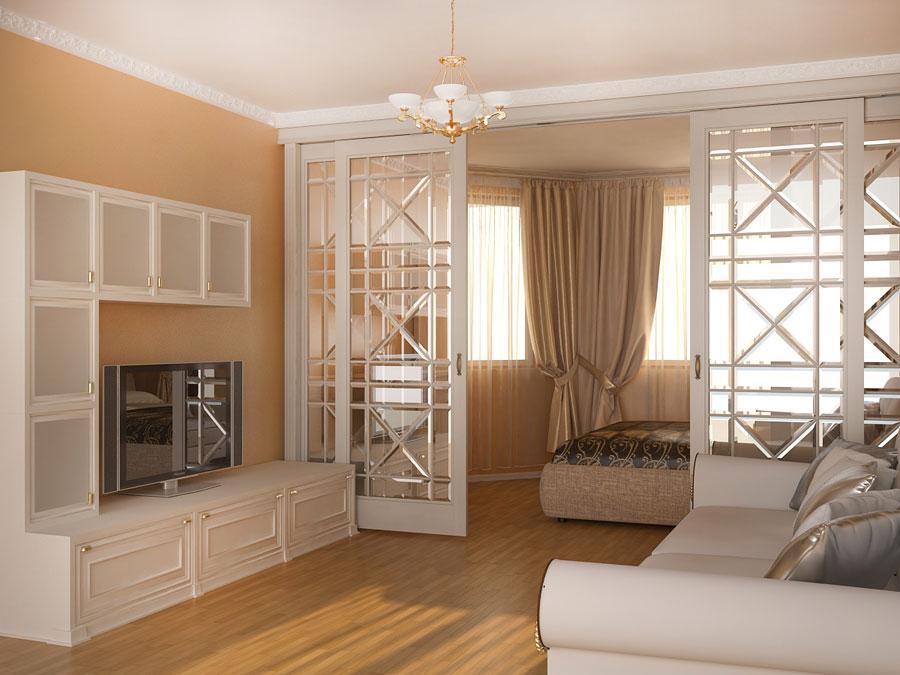 Раздвижные двери для зонирования комнаты родителей и детей вместе
