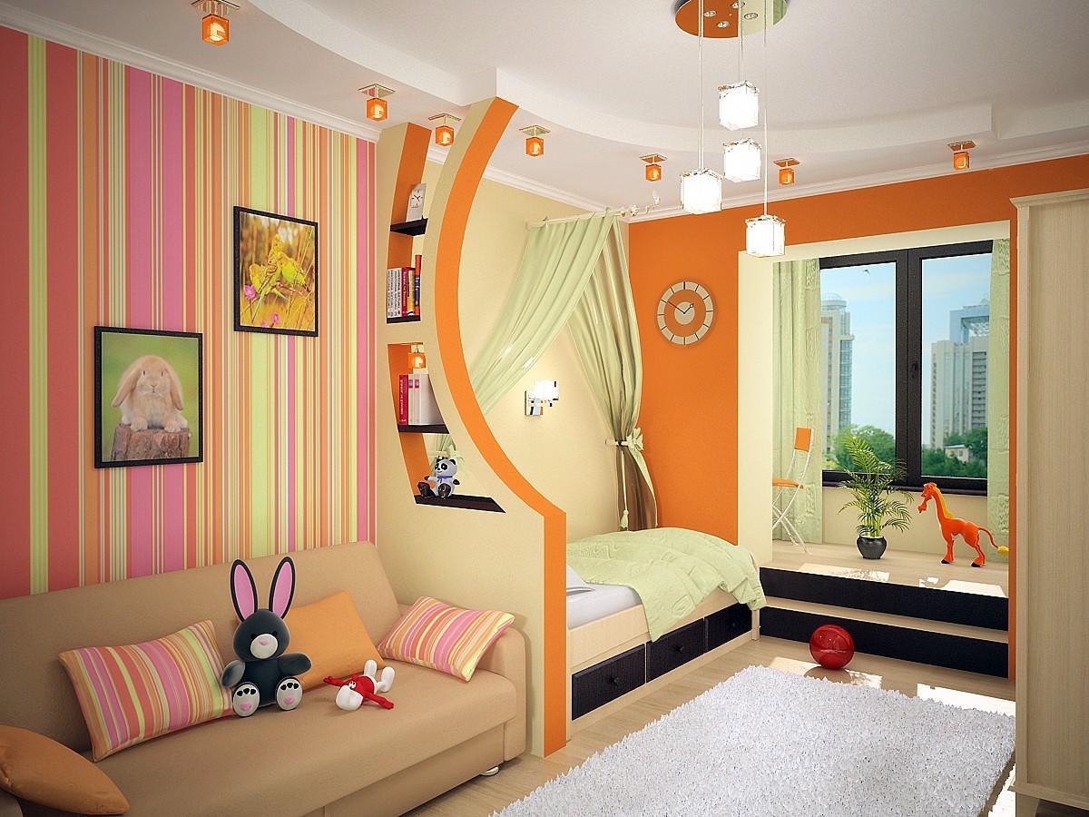 Гипсокартонная перегородка для зонирования комнаты родителей и детей вместе