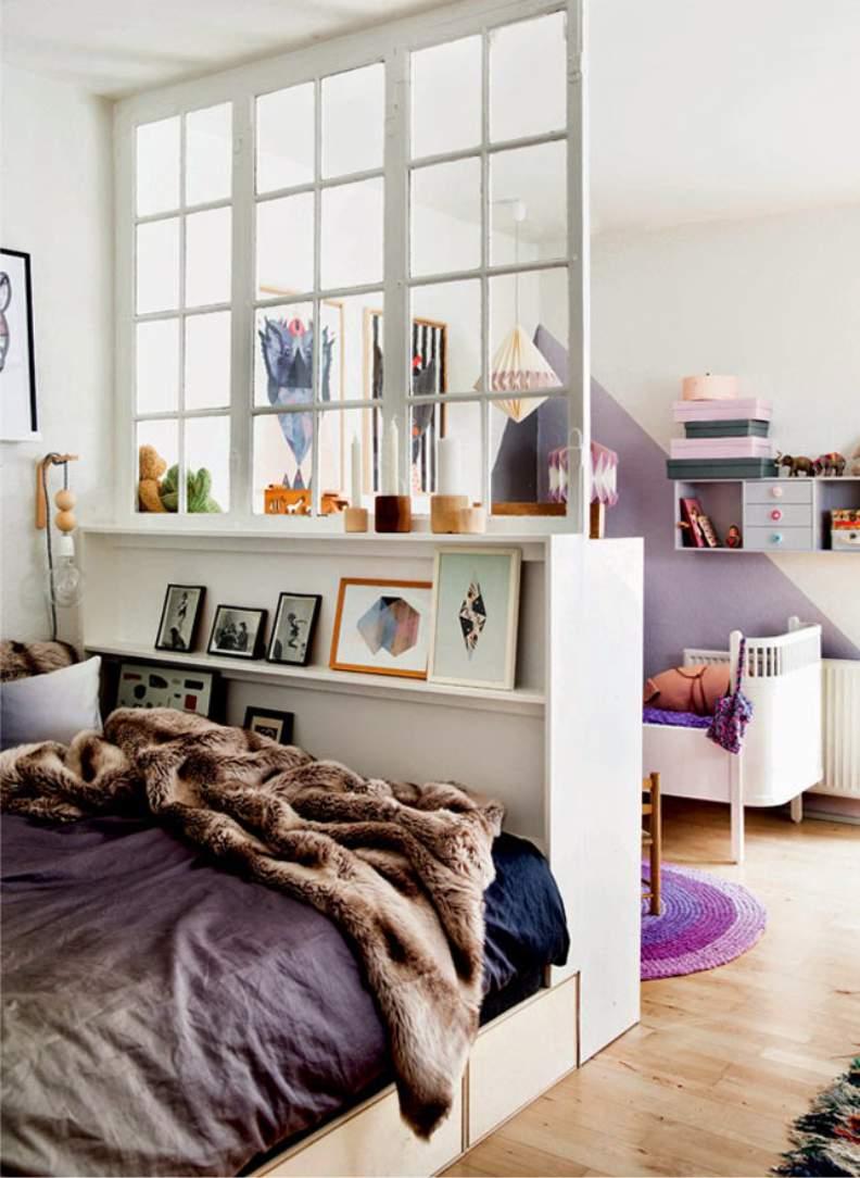 Шкаф для зонирования комнаты родителей и детей вместе