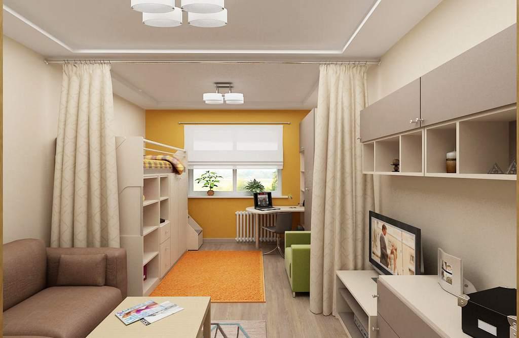 Шторы для зонирования комнаты родителей и детей вместе