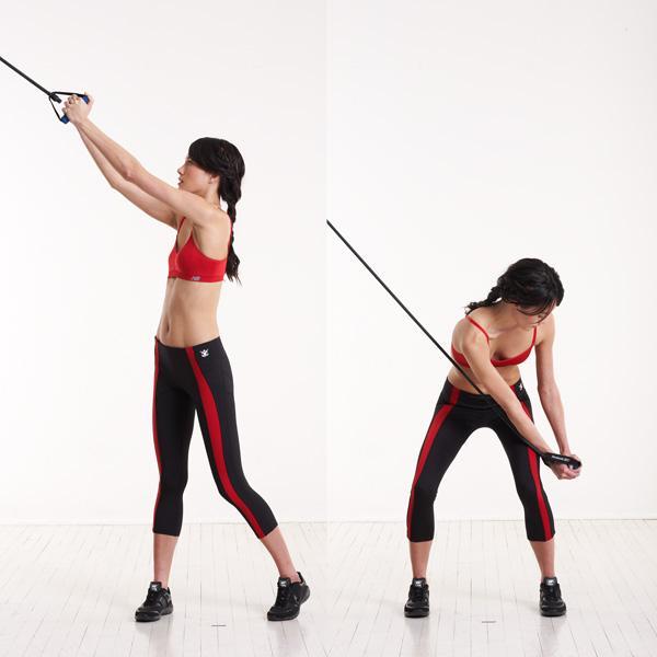 Упражнение тяга руками на блочном тренажере