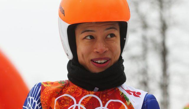 Ванесса Мэй на горнолыжных соревнованиях