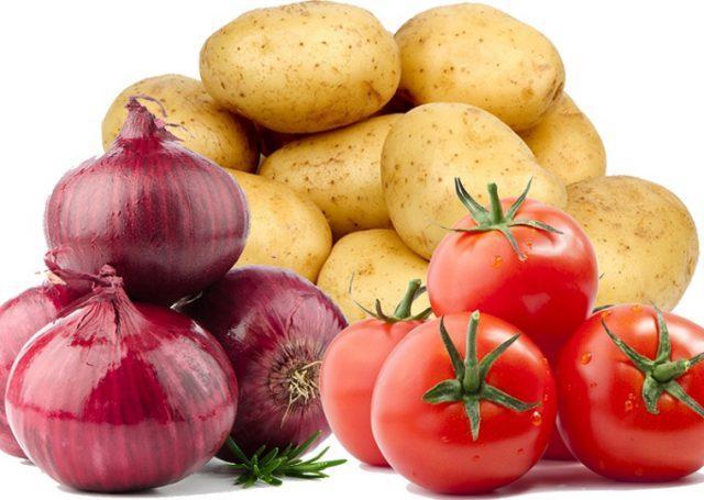 Лук, картофель, помидоры