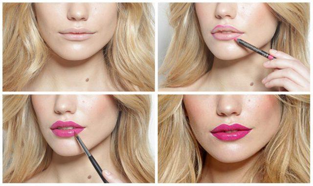 Увеличиваем губы макияжем