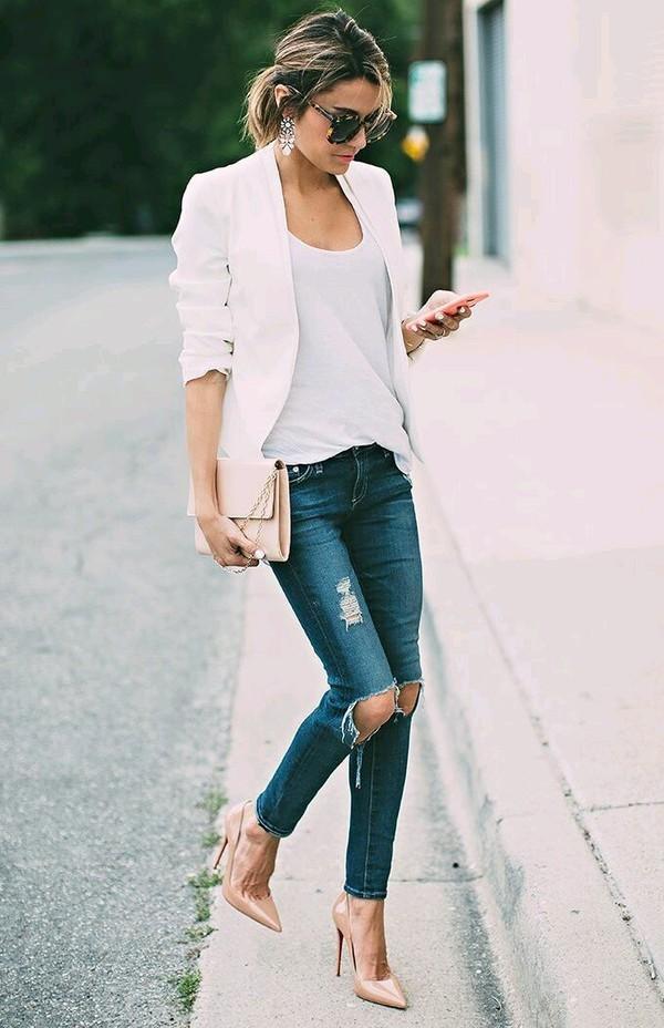 Белая футболка + блейзер