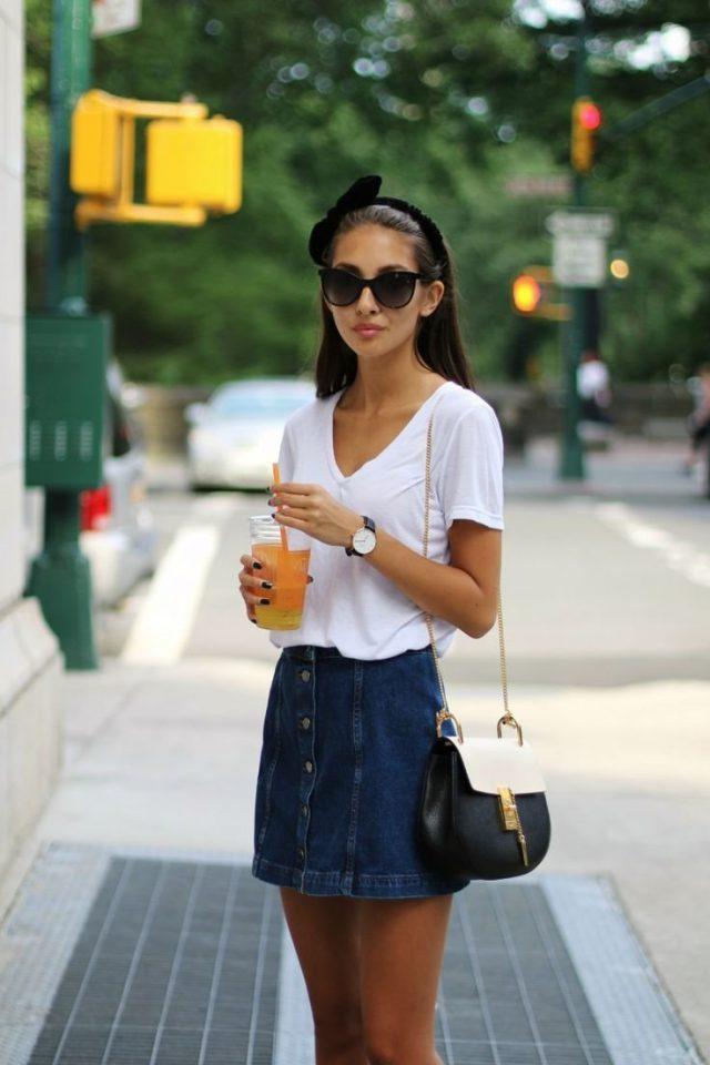 Белая футболка + юбка короткая