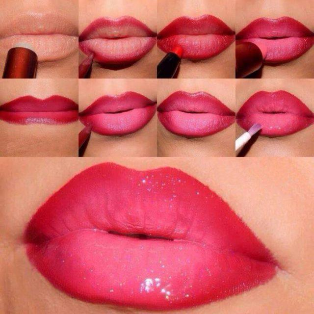 Эффект омбре на губах