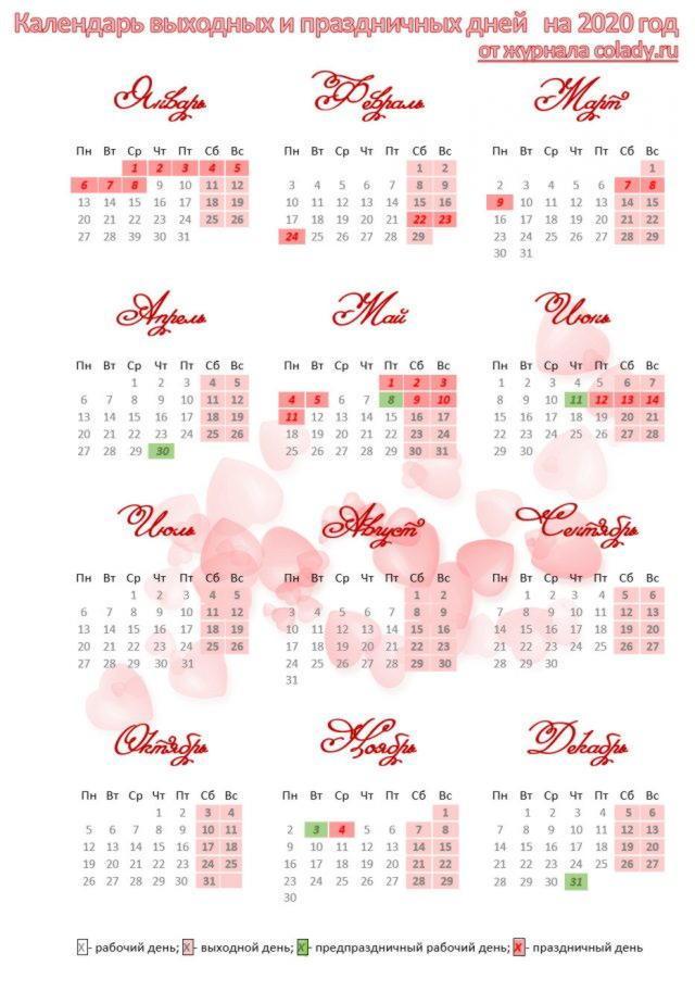 Производственный календарь на 2020 год РФ