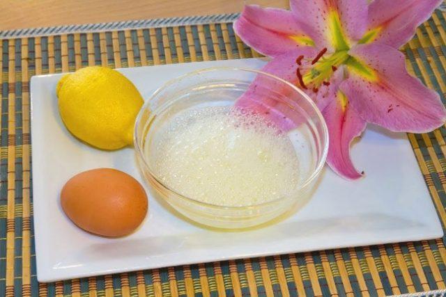 Маска яйцо с соком лимона