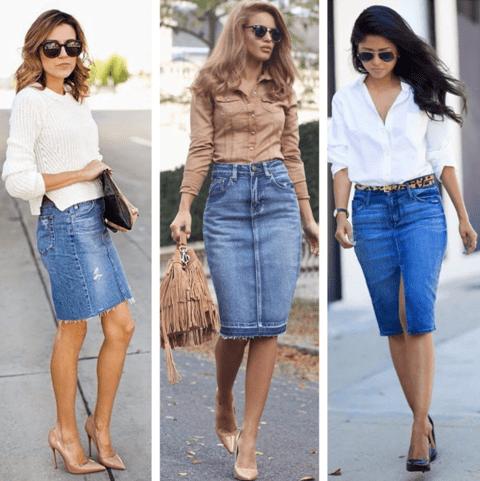 Узкая джинсовая юбка