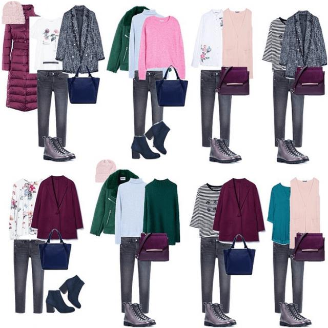 Капсульный гардероб зеленый с розовым