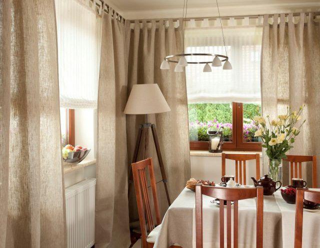 Льняные шторы на кухню