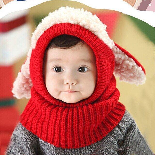 Зимняя детская шапка с ушками