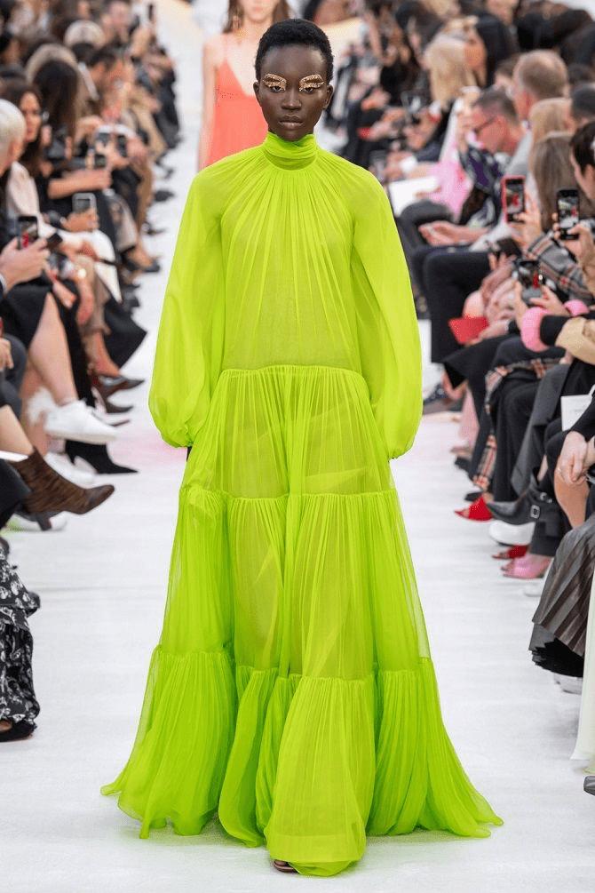 салатовое платье-парашют