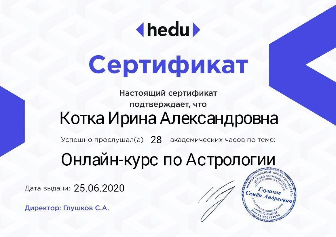 Котка сертификат