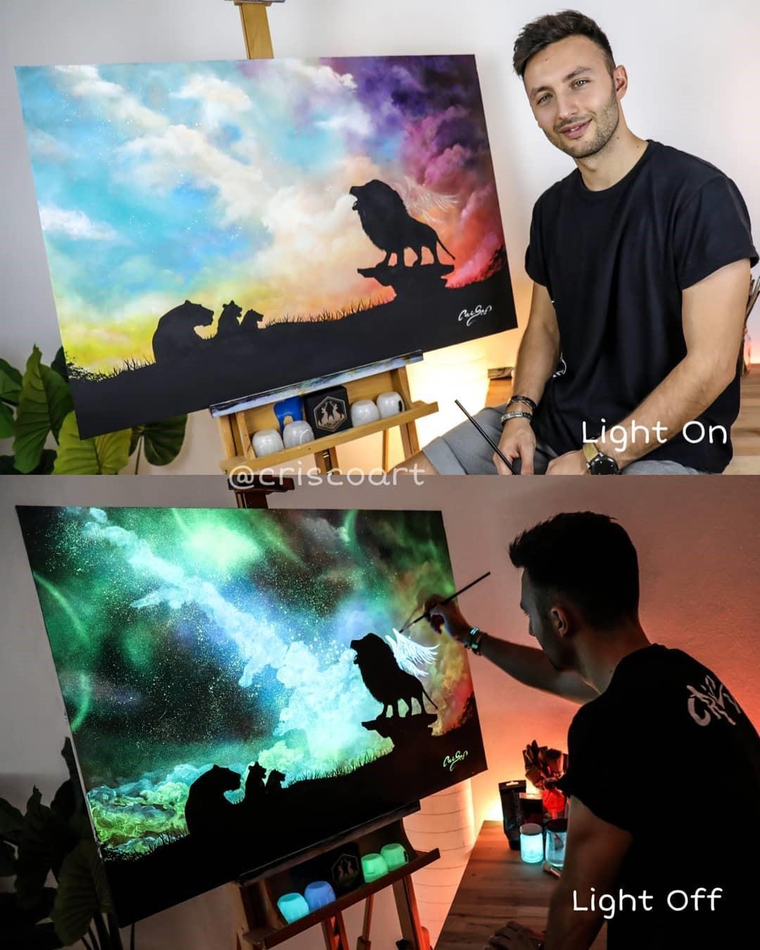Итальянский художник рисует удивительные картины, которые оживают, стоит только выключить свет