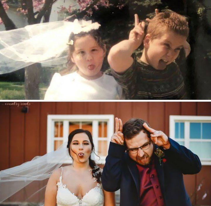 Люди, спустя годы, воссоздали старые семейные фотографии и на секунду вернулись в прошлое