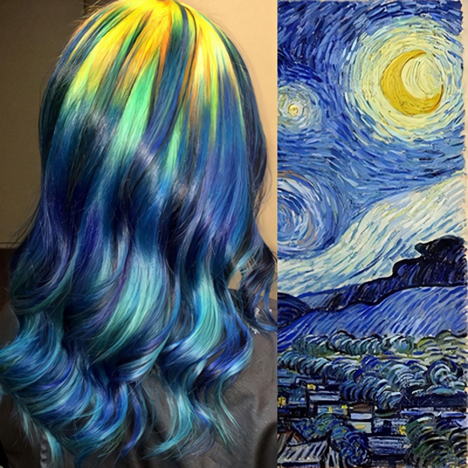От северного сияния до радуги: парикмахер создаёт на волосах картины известных художников из светящихся красок